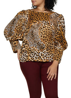Plus Size Leopard Tie Back Blouse - 3803074288116