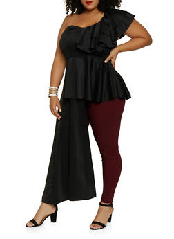 Plus Size One Shoulder Asymmetrical Peplum Top - 3803074288123