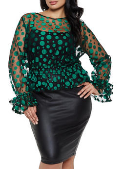 Plus Size Polka Dot Ruffle Mesh Top - 3803074288127