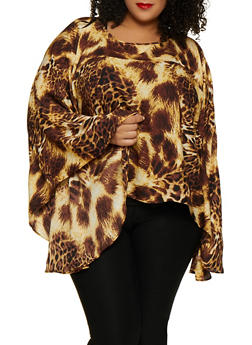 Plus Size Bell Sleeve Printed Top - 3803074288128