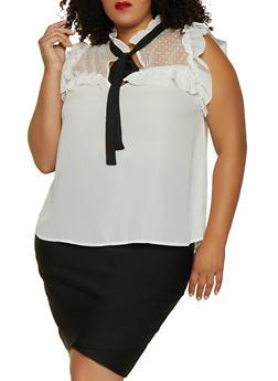 Plus Size Ruffle Swiss Dot Mesh Yoke Top - 3803074288129