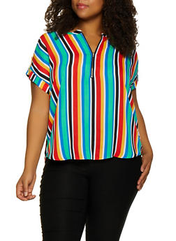 Plus Size Striped Zip Neck Blouse - 3803074288132