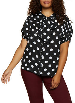 Plus Size Polka Dot Short Sleeve Blouse - 3803074288155
