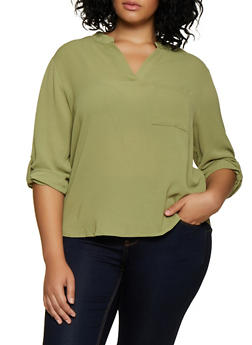 Plus Size Caged Back Blouse - 3803074288156