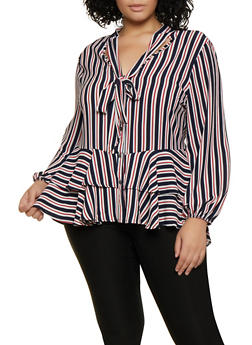 Plus Size Striped Tie Neck Button Front Blouse - 3803074288166