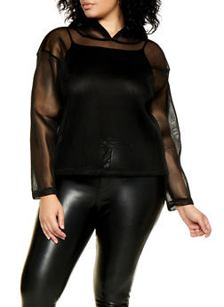 Plus Size Mesh Pull Over Sweatshirt - 3803074288173
