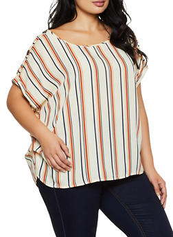 Plus Size Striped Button Shoulder Top | 3803074288551 - 3803074288551