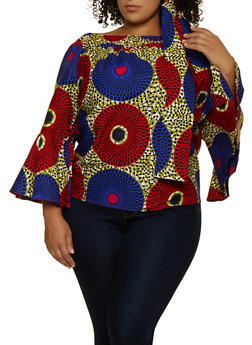 Plus Size Off the Shoulder Dot Print Top with Head Wrap - 3803074730056