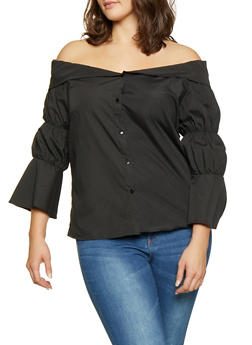Plus Size Fold Over Off the Shoulder Shirt - 3803074730088