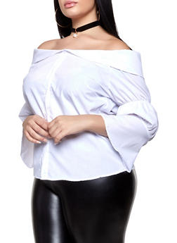 Plus Size Fold Over Off the Shoulder Shirt - 3803074730088