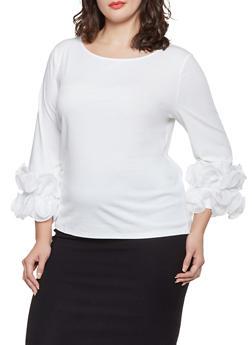 Plus Size Chiffon Ruffle Cuff Top - 3803074730121