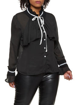 Plus Size Pleated Tie Neck Shirt - 3803074730305