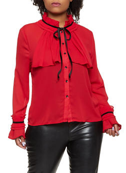 Plus Size Pleated Tie Neck Shirt - 3803074730305