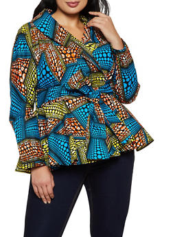 Plus Size Printed Tie Waist Blazer - 3803074730310