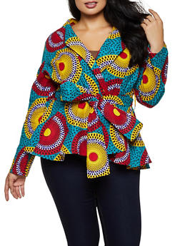 Plus Size Circle Print Tie Waist Blazer - 3803074730312