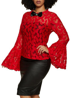 Plus Size Lace Bell Sleeve Brooch Top - 3803074730401