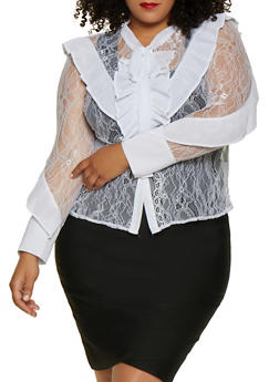 Plus Size Pleated Ruffle Lace Shirt - 3803074730409