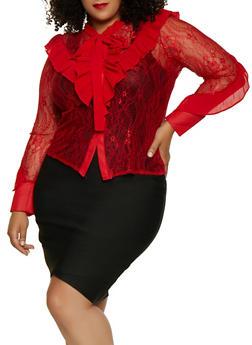 Plus Size Pleated Ruffle Lace Shirt - 3803074730409