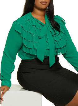 Plus Size Ruffled Tie Neck Shirt - 3803074731013