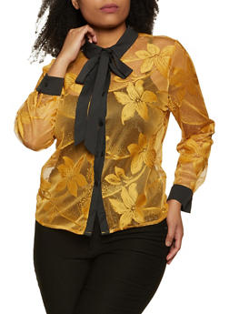 Plus Size Embroidered Mesh Shirt - 3803074731019