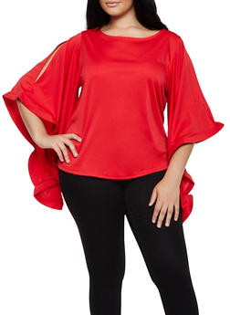 Plus Size Slit Bell Sleeve Top - 3803074731072