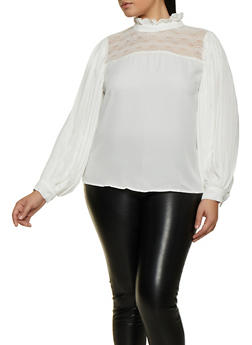 Plus Size Pleated Sleeve Blouse - 3803074731118