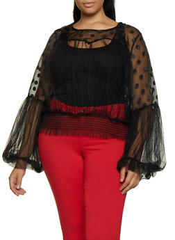 Plus Size Polka Dot Organza Mesh Top - 3803074731120