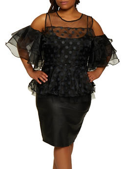 Plus Size Polka Dot Cold Shoulder Organza Top - 3803074731123