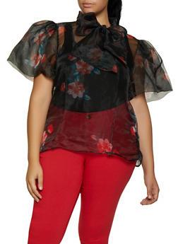 Plus Size Floral Organza Tie Neck Top - 3803074731127