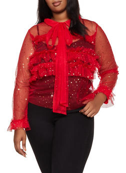 Plus Size Foil Polka Dot Mesh Shirt - 3803074731128