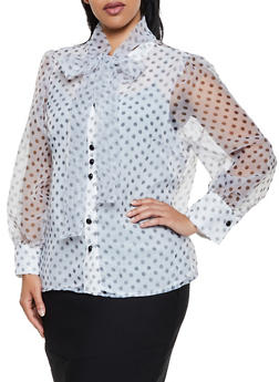 Plus Size Polka Dot Tie Neck Shirt - 3803074731149