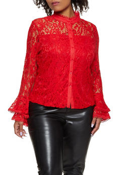 Plus Size Lace Bell Sleeve Shirt - 3803074731239