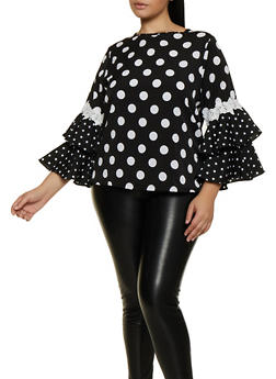 Plus Size Polka Dot Bell Sleeve Top - 3803074731275