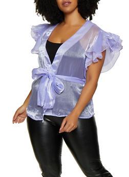 Plus Size Organza Tie Waist Top - 3803074731311