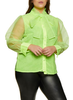 Plus Size Organza Tie Neck Blouse - 3803074731491