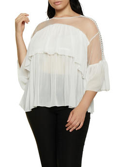 Plus Size Tiered Crochet Detail Top - 3803074733149