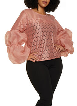 Plus Size Organza Bubble Sleeve Top - 3803074733325