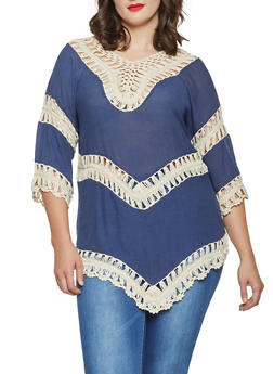 Plus Size Crochet Insert Tunic Top - 3803074734091