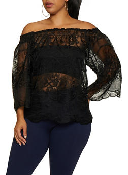 Plus Size Off the Shoulder Embroidered Organza Top - 3803074734092