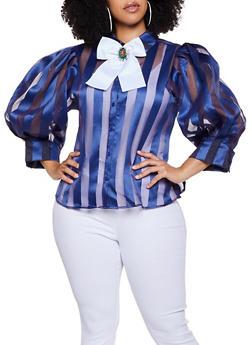 Plus Size Shadow Stripe Button Front Top - 3803074734184