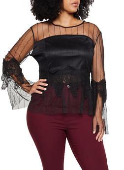 Plus Size Crochet Detail Striped Mesh Top - 3803074735410