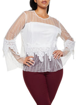 Plus Size Crochet Detail Striped Mesh Top - 3803074735410