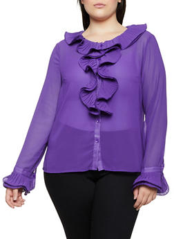 Plus Size Pleated Ruffle Blouse - 3803074735510