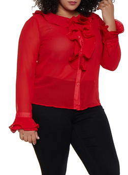 Plus Size Pleated Ruffle Blouse - 3803074735510