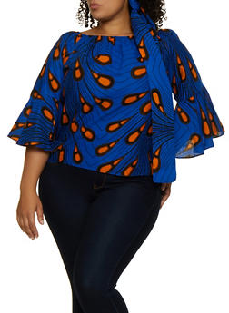 Plus Size Off the Shoulder Abstract Print Top with Head Wrap - 3803074736200