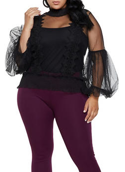 Plus Size Mesh Bell Sleeve Top - 3803074737106