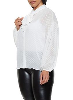 Plus Size Swiss Dot Tie Neck Blouse - 3803074737557