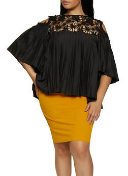 Plus Size Pleated Cold Shoulder Top - 3803074738031
