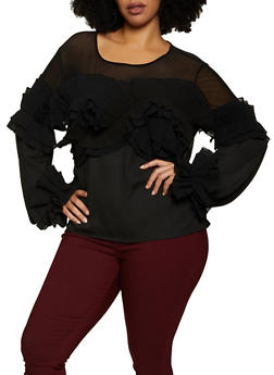 Plus Size Pleated Ruffle Top - 3803074739600
