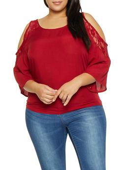Plus Size Crochet Trim Cold Shoulder Shirt - 3803074760030